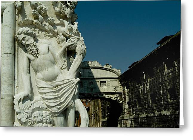 Palace Bridge Greeting Cards - Statue On The Doges Palace In Front Greeting Card by Todd Gipstein