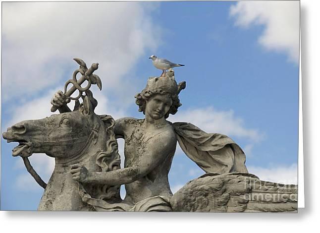 Ile De France Greeting Cards - Statue . Place de la Concorde. Paris. France Greeting Card by Bernard Jaubert