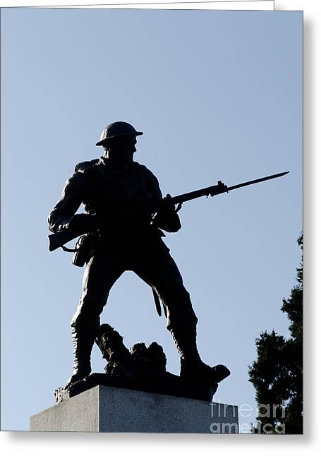 Statue Silhouette World War Memorial Victoria Bc Greeting Card by Andy Smy