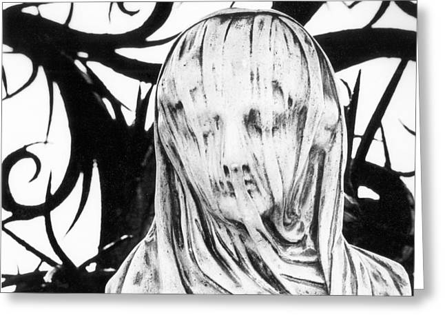 Black Veil Greeting Cards - Statue Greeting Card by Simon Marsden