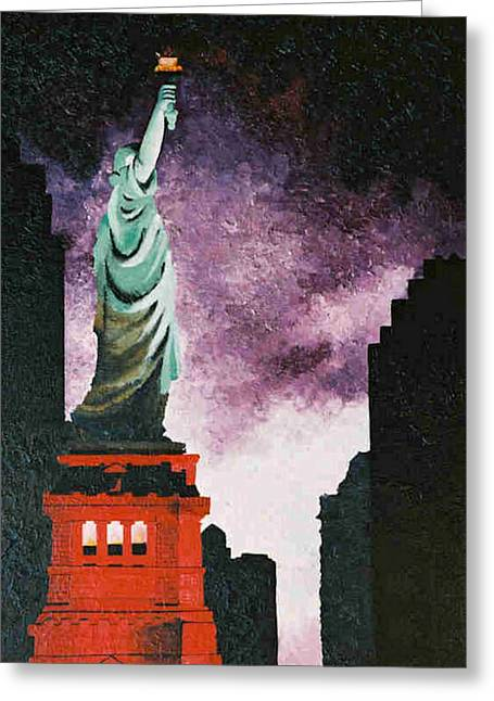 Terrorism Paintings Greeting Cards - Statue still stands Greeting Card by T Fischler