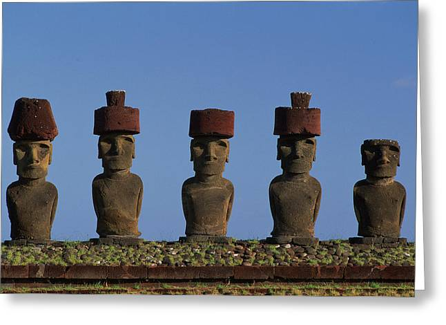 Sequential Art Greeting Cards - Statues, Moai At Ahu Ature Huki, Easter Greeting Card by David Nunuk