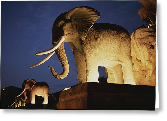 Character Sculpture Greeting Cards - Statues Of African Elephants Line Greeting Card by Tino Soriano