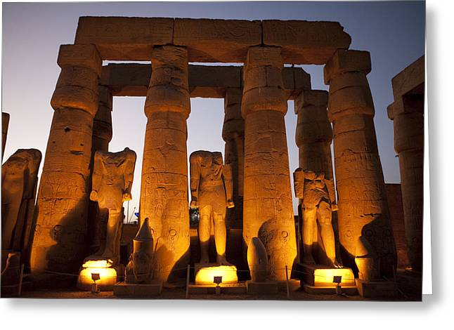 Pharaoh Greeting Cards - Statues Of Ramses Ii At Luxor Temple Greeting Card by Taylor S. Kennedy