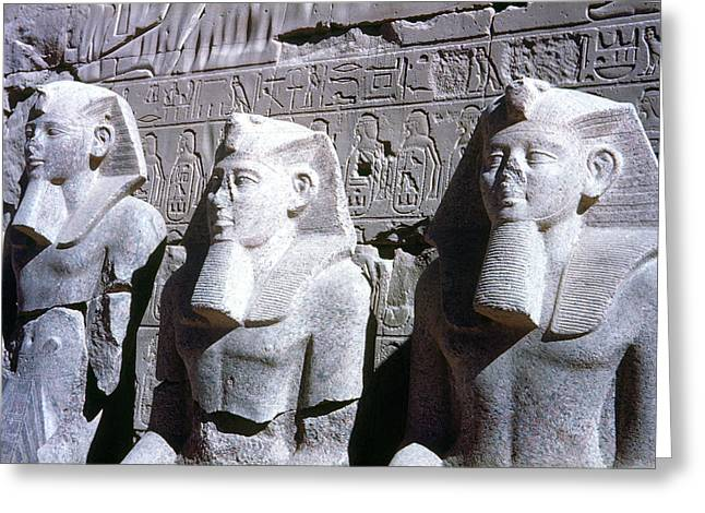 Statue Portrait Greeting Cards - Statues Of Ramses Ii Greeting Card by Granger