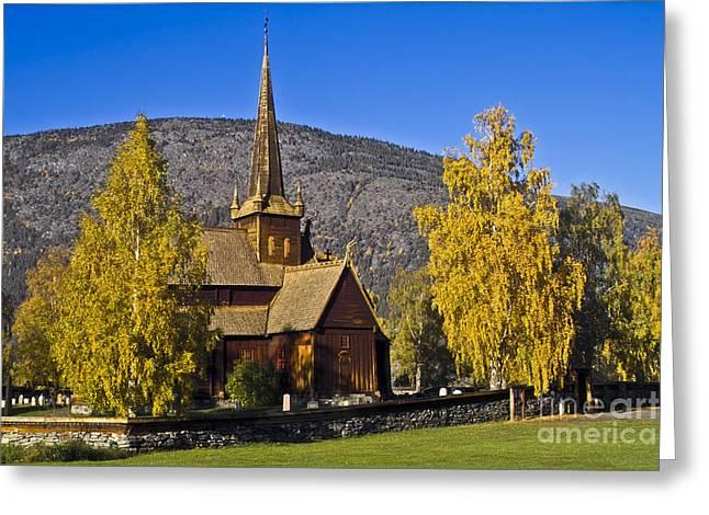 Heiko Koehrerwagner Greeting Cards - Stave Church in Lom Greeting Card by Heiko Koehrer-Wagner