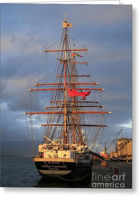 Tall Ships Greeting Cards - Stavros S Niarchos Greeting Card by Gaspar Avila