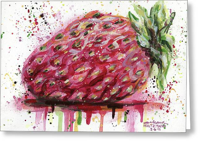 Strawberry Paintings Greeting Cards - Stawberry 2 Greeting Card by Arleana Holtzmann