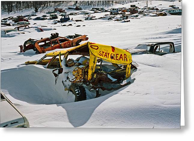 Demolition Derby Greeting Cards - Stay Clear Greeting Card by James Rasmusson