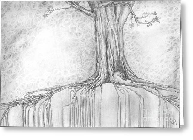 Tree Roots Drawings Greeting Cards - Stay Rooted Greeting Card by Crystal June Norton