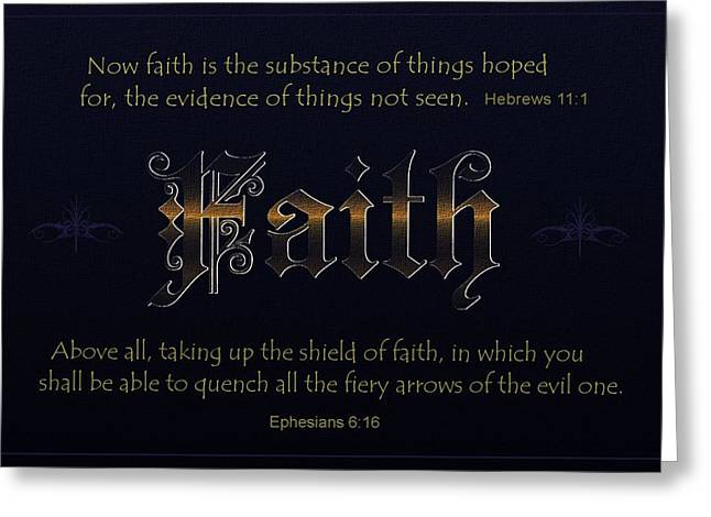Bible Verse Canvas Art Prints Greeting Cards - Steadfast Faith Greeting Card by Greg Long