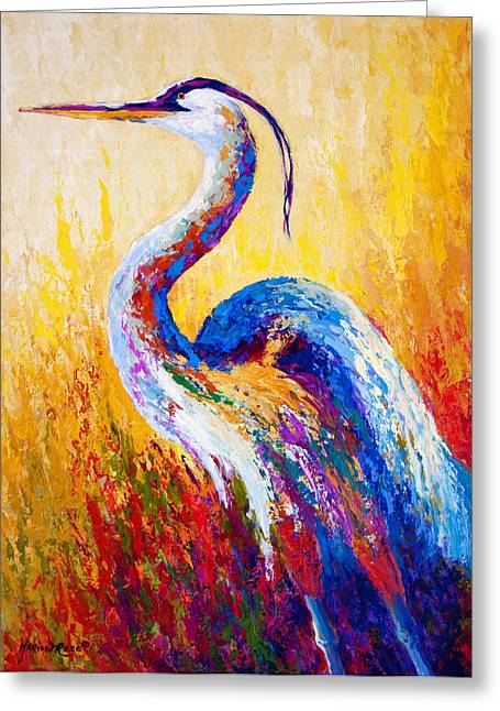 Fishing Greeting Cards - Steady Gaze - Great Blue Heron Greeting Card by Marion Rose