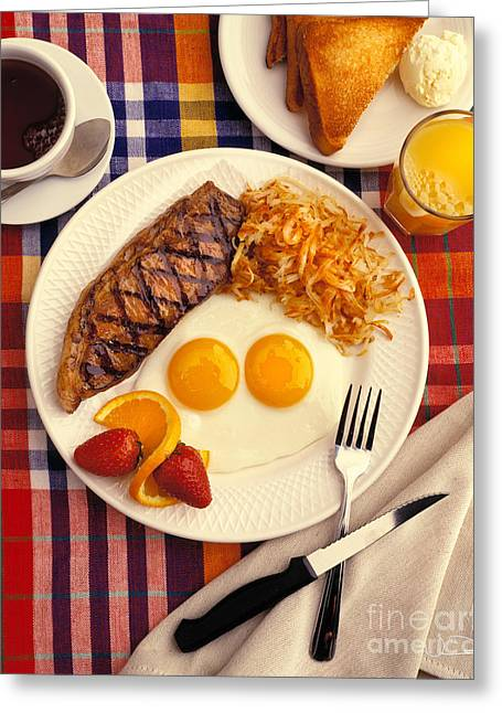Toast Greeting Cards - Steak and Eggs Breakfast Two Greeting Card by Vance Fox