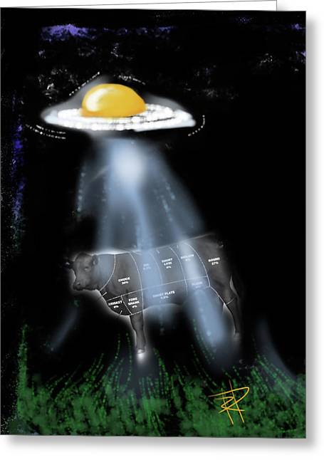 Abduction Digital Art Greeting Cards - Steak and Eggs Greeting Card by Russell Pierce