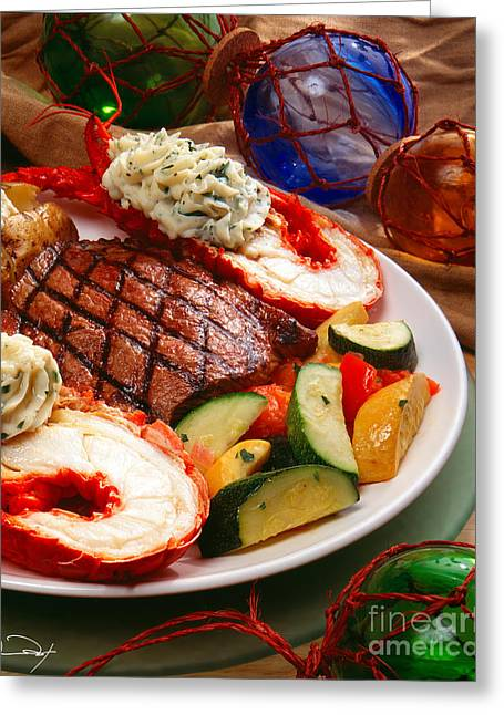 American Food Photographs Greeting Cards - Steak and Lobster Greeting Card by Vance Fox
