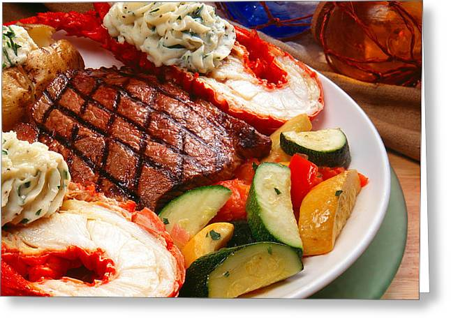 Steak and Lobster Greeting Card by Vance Fox