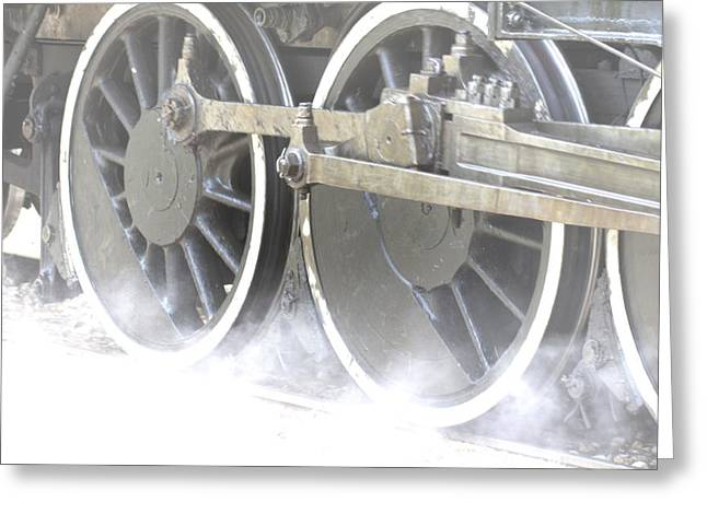 Locomotive Wheels Greeting Cards - Steam Greeting Card by Douglas Barnard