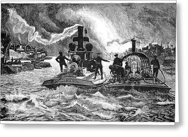 Fireboat Greeting Cards - Steam Fireboats, 19th Century Greeting Card by
