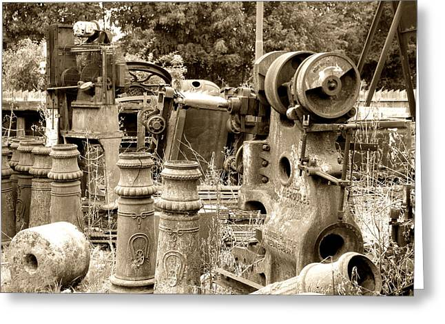 Steam Junkyard Greeting Card by Roberto Alamino