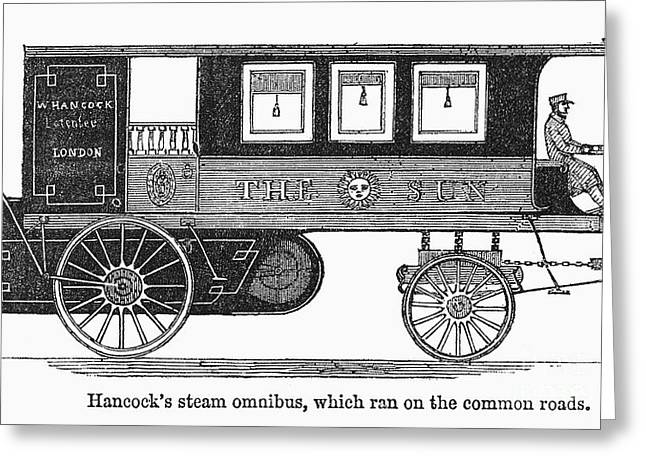 Steam Omnibus, 1830s Greeting Card by Granger