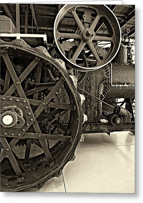 Grey Roots Museum Greeting Cards - Steam Power monochrome Greeting Card by Steve Harrington