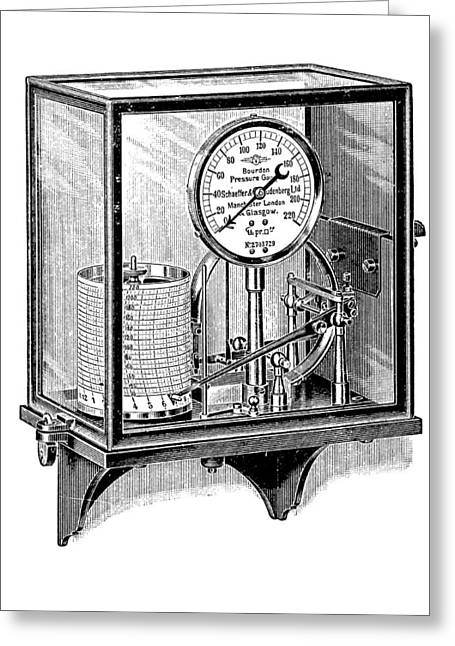 Pen And Paper Greeting Cards - Steam Pressure Gauge And Recorder Greeting Card by Mark Sykes