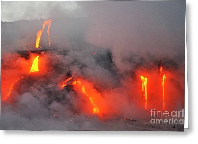 Sami Sarkis Greeting Cards - Steam rising off lava flowing into ocean Greeting Card by  Sami Sarkis