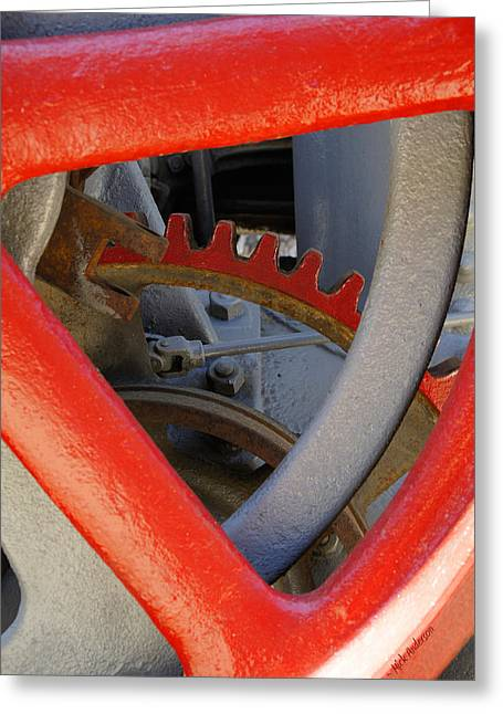 Steam Tractor Gear Detail Greeting Card by Mick Anderson