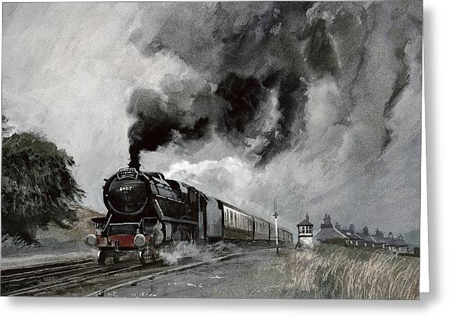 Engine Paintings Greeting Cards - Steam Train at Garsdale - Cumbria Greeting Card by John Cooke