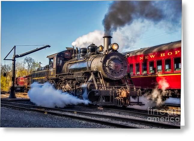 2-8-0 Greeting Cards - Steam Train No. 40 Greeting Card by Susan Candelario