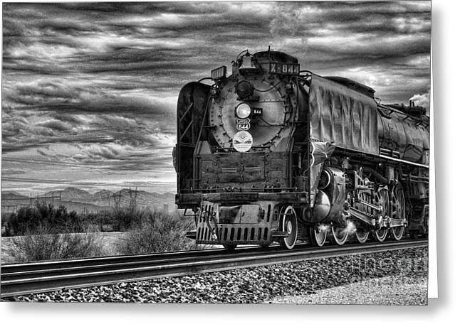 Black_white Photography Greeting Cards - Steam Train No 844 - IV Greeting Card by Donna Van Vlack