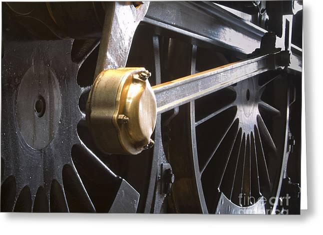 Scrart Greeting Cards - Steam train wheel Greeting Card by Steev Stamford