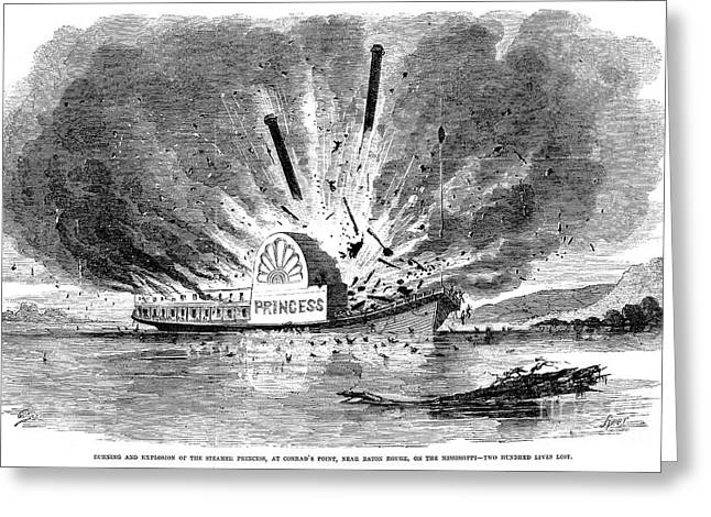 Steamboat Greeting Cards - Steamboat Accident, 1859 Greeting Card by Granger