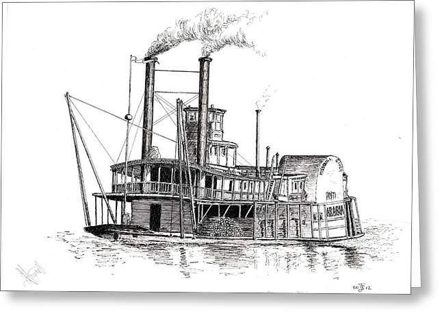 Print; Paddle Steamer Greeting Cards - Steamboat Bill   The Arabia Greeting Card by John Simlett