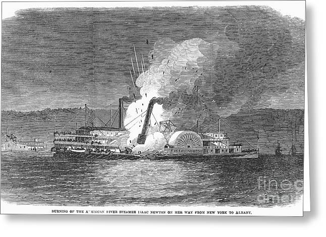 Steamboat Greeting Cards - Steamboat Burning, 1863 Greeting Card by Granger