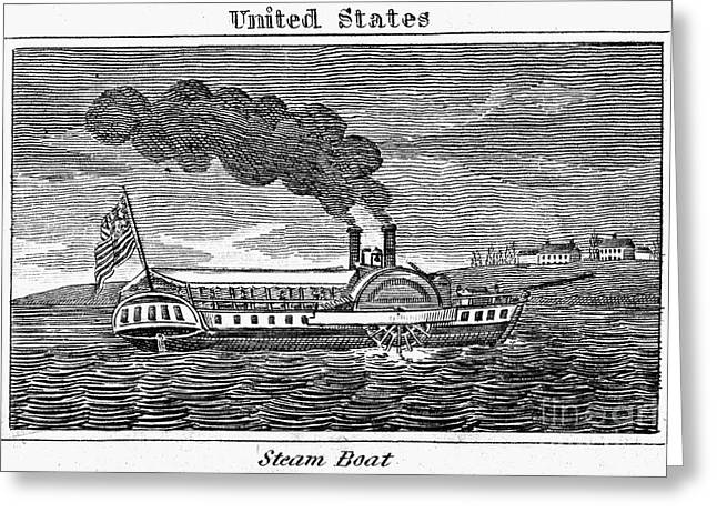 Steamboat Greeting Cards - STEAMBOAT, c1839s Greeting Card by Granger