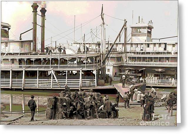 Steamboat Landing 1905 Colorized Greeting Card by Padre Art