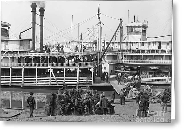 Steamboat Landing 1905 Greeting Card by Padre Art