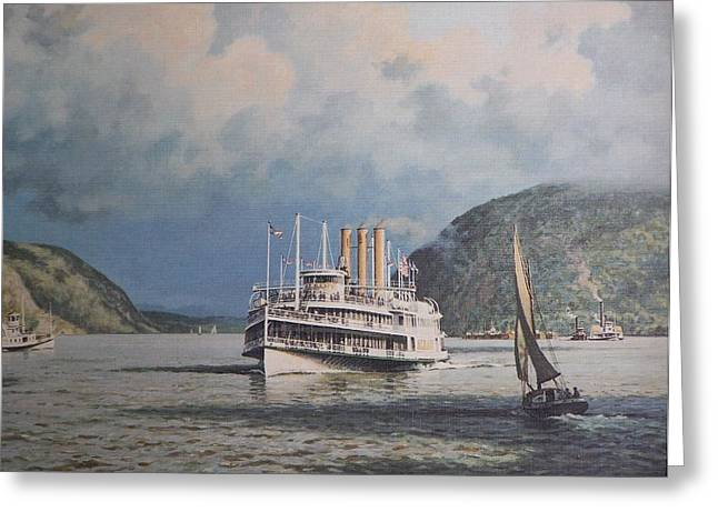 Mary Powell Greeting Cards - Steamboats on Newburgh Bay William G Muller Greeting Card by Jake Hartz