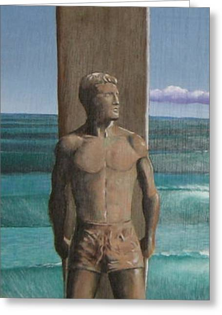 Steamer Lane Statue Greeting Card by Tim Foley