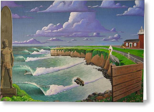 Steamer Lane Greeting Cards - Steamer lane Greeting Card by Tim Foley