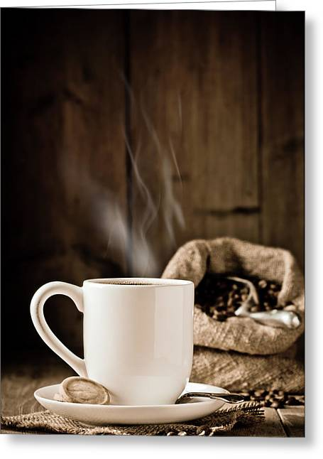 Rustic Photo Greeting Cards - Steaming Coffee Greeting Card by Amanda And Christopher Elwell