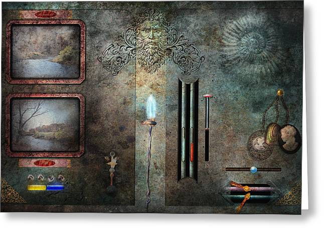 Control Panels Greeting Cards - Steampunk - Control Panel Greeting Card by Mike Savad