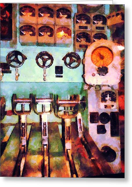Gauge Greeting Cards - Steampunk - Electrical Control Room Greeting Card by Susan Savad