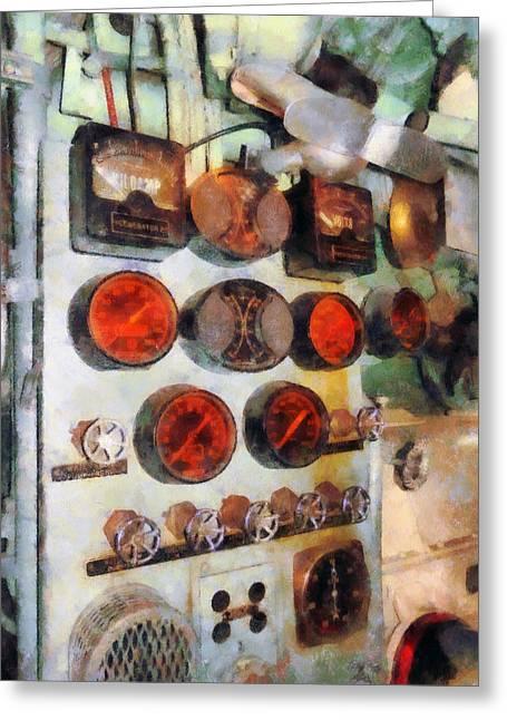 Gauge Greeting Cards - Steampunk - Gauges in Engine Room Greeting Card by Susan Savad