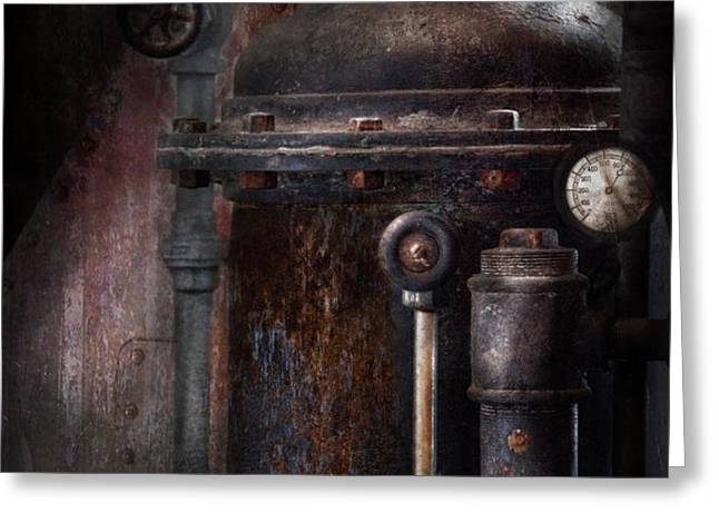Steampunk - Handling Pressure  Greeting Card by Mike Savad
