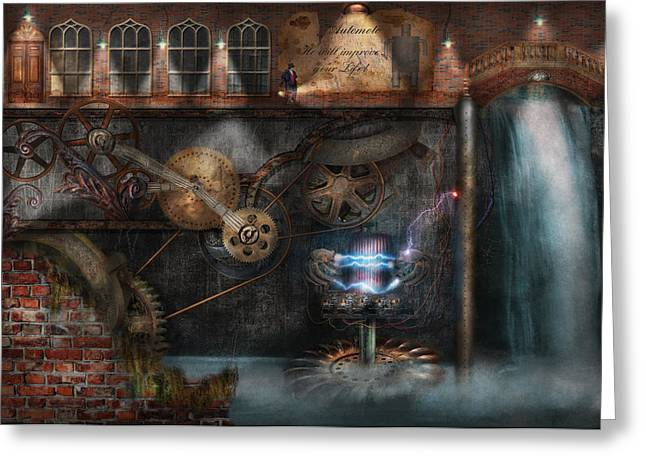 Steampunk - Industrial Society Greeting Card by Mike Savad