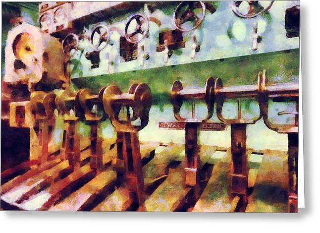 Gauge Greeting Cards - Steampunk - Levers in Underwater Vessel Greeting Card by Susan Savad