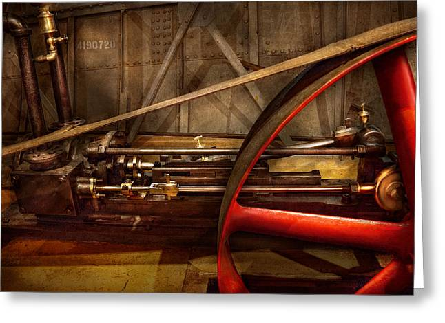 Steampunk - Machine - The wheel works Greeting Card by Mike Savad