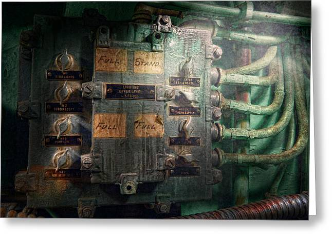 Steampunk - Naval - Electric - Lighting Control Panel Greeting Card by Mike Savad